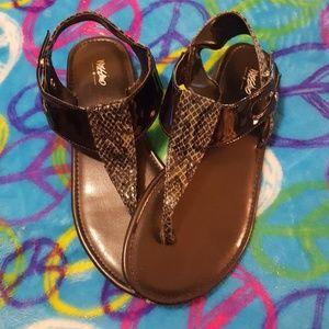 Faux snakeskin sandals